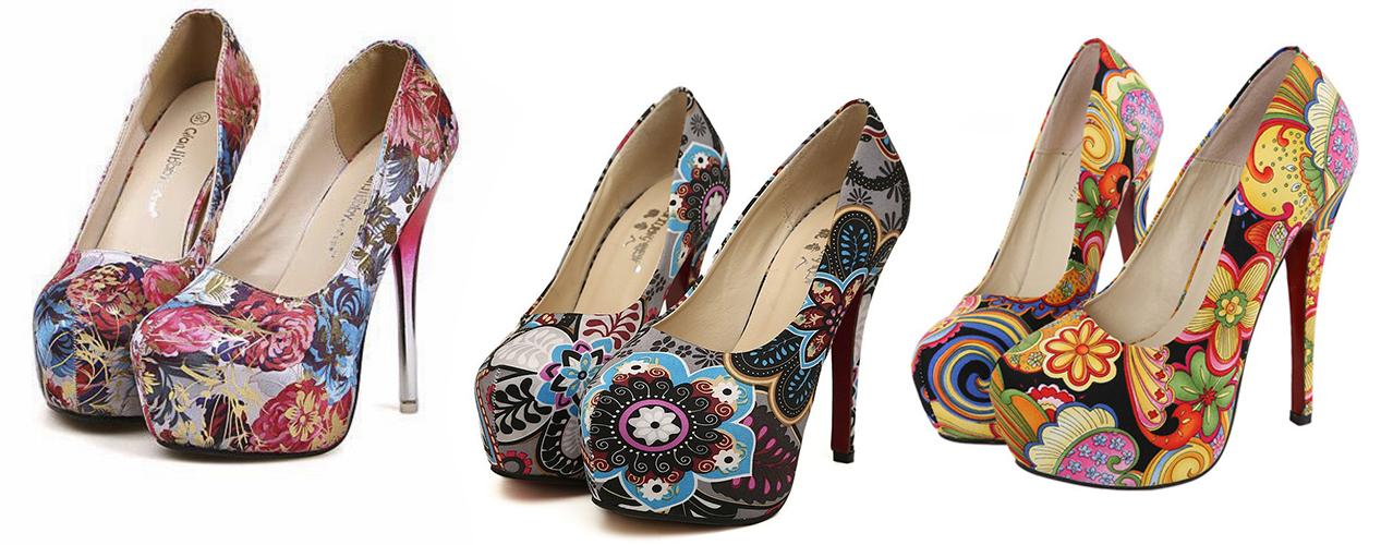 туфли цветочный принт