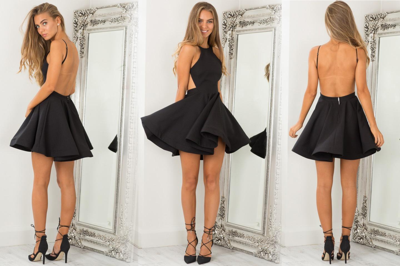 Короткое платье с открытой спиной черного цвета фото 13