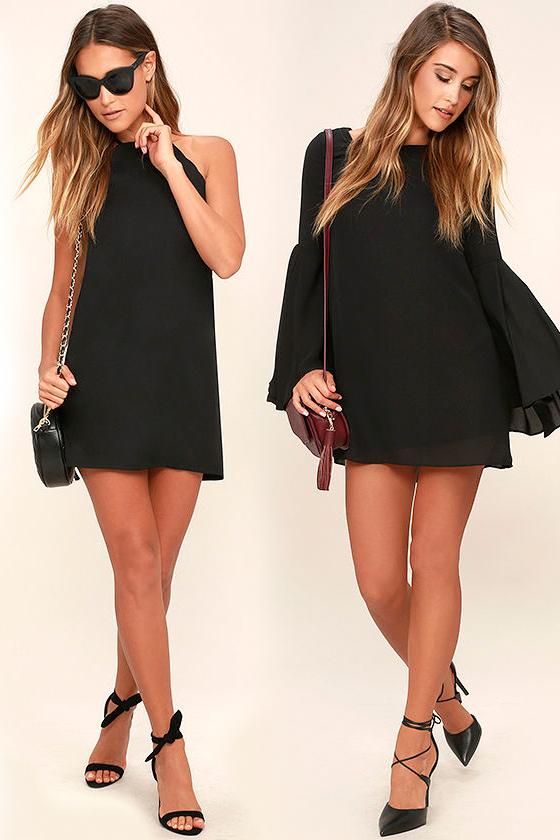 Короткое прямое чёрное платье фото 7