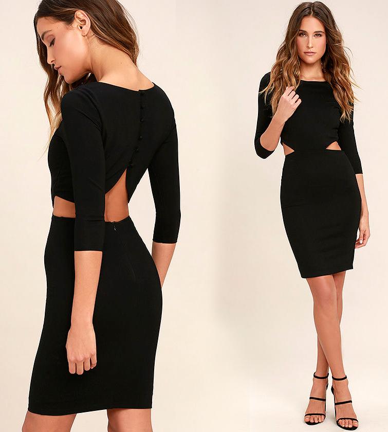 Короткие обтягивающие платья черного цвета фото 10