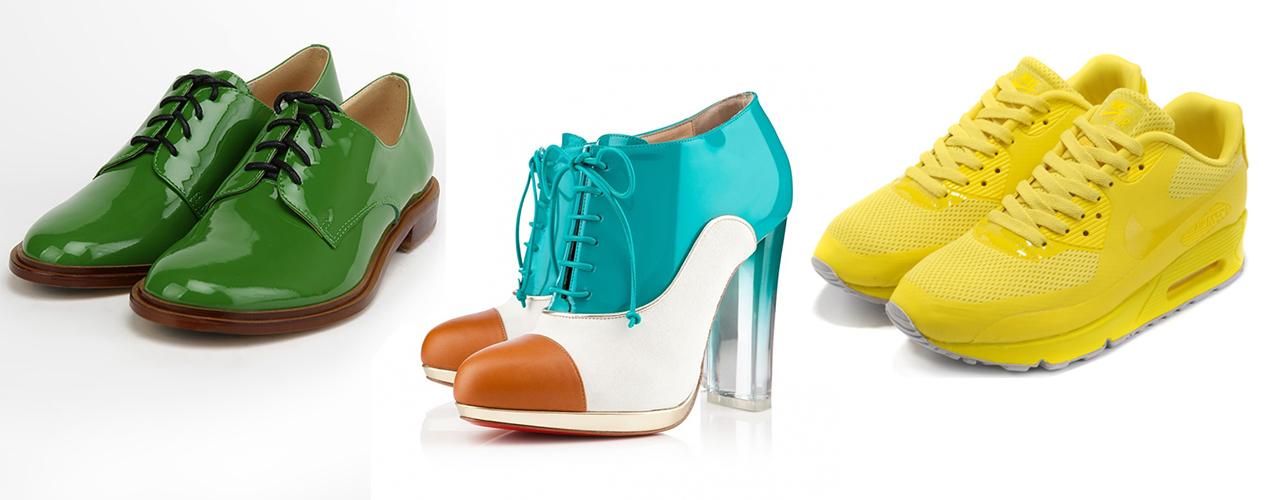 зеленые ботинки, разноцветные ботильоны, желтые кроссовки