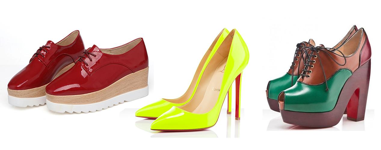 красные ботинки, желтые туфли, разноцветные ботильоны