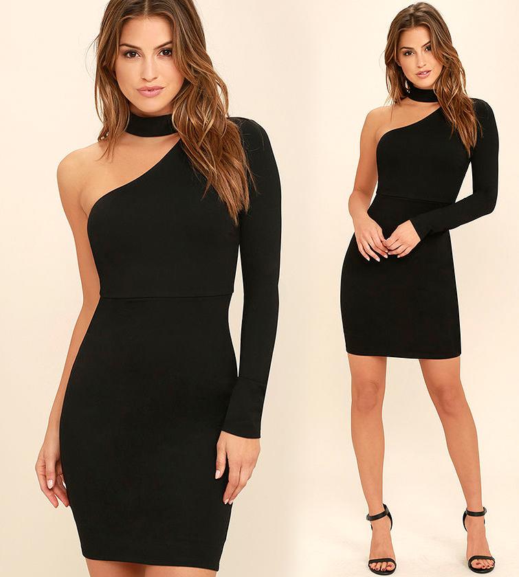 Короткие обтягивающие платья черного цвета фото 9