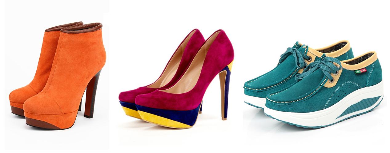 оранжевые ботильоны, розовые туфли, голубые ботинки