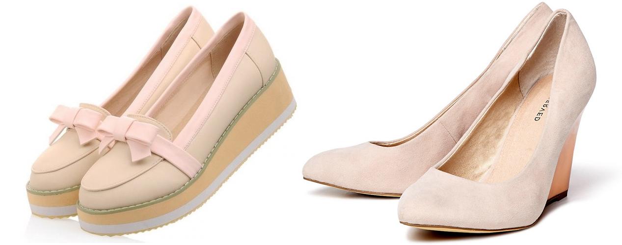 бежевые слипоны, бежевые туфли на танкетке