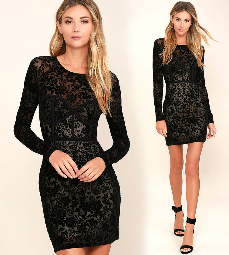 Короткие обтягивающие платья черного цвета фото 8