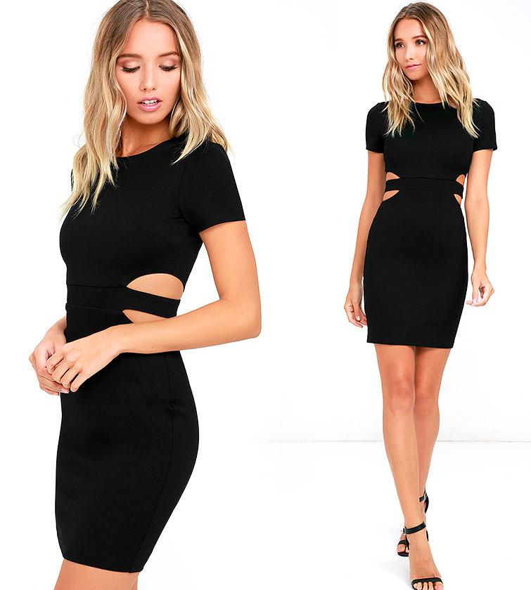 Короткие обтягивающие платья черного цвета фото 2