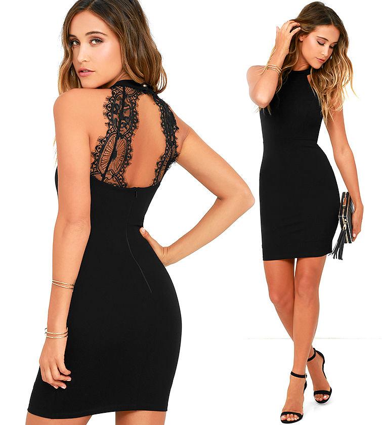Короткие обтягивающие платья черного цвета фото 3
