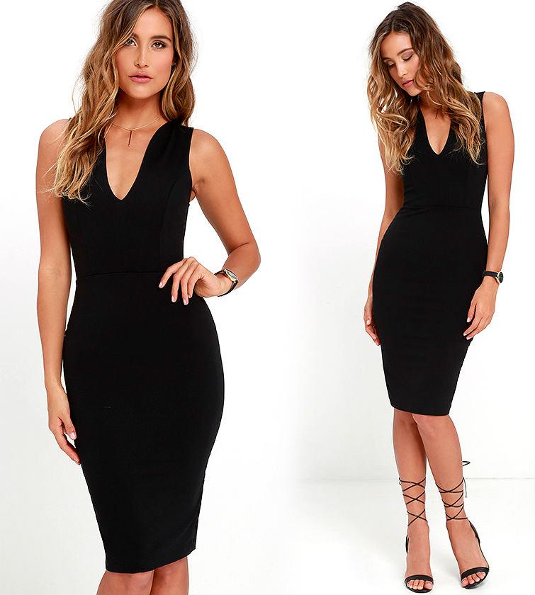 Короткие обтягивающие платья черного цвета фото 4
