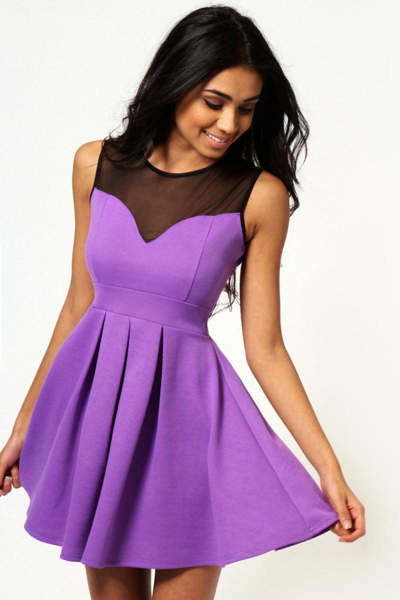 Короткие фиолетовые платья фото 5