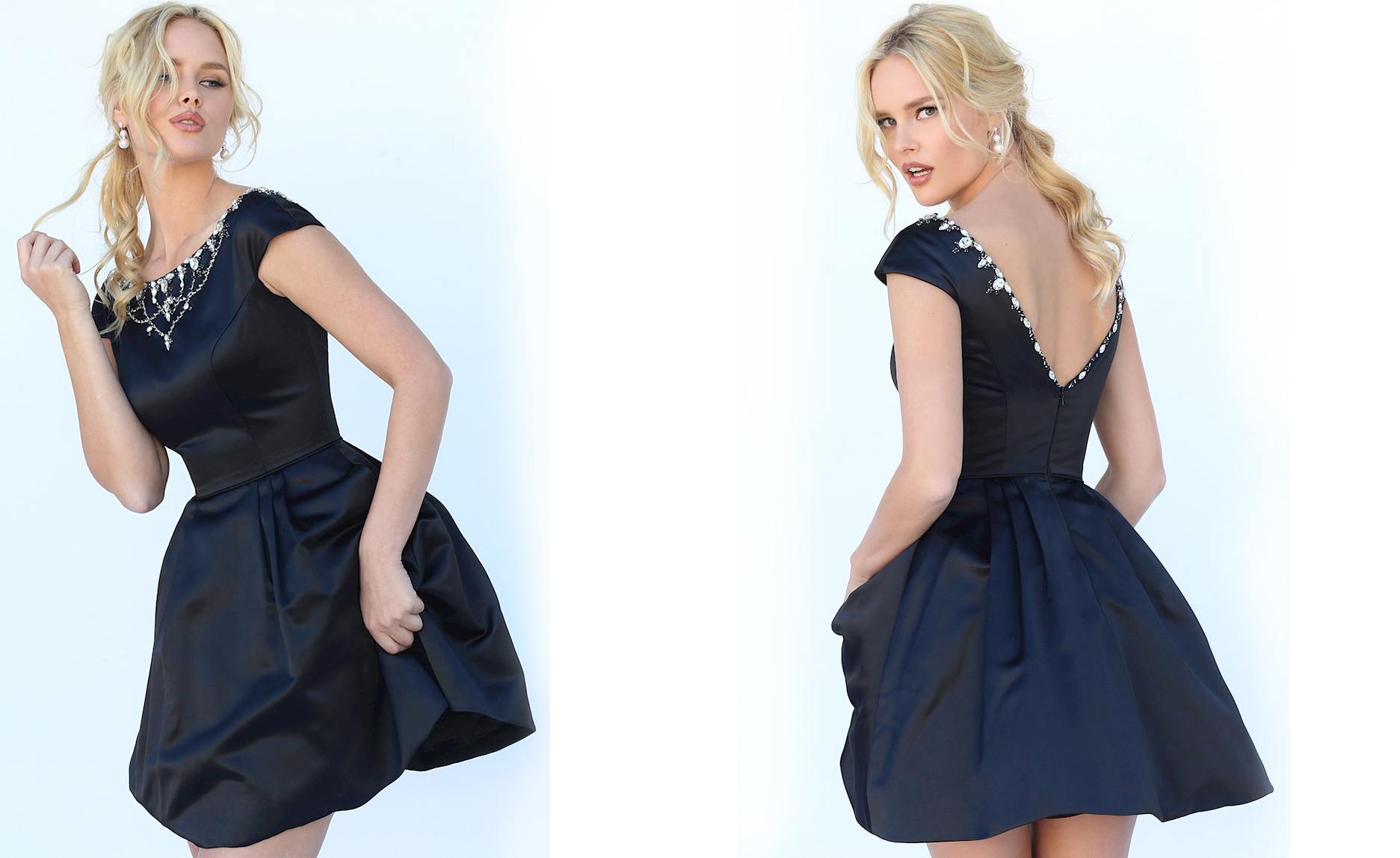 Пышное короткое платье черного цвета фото 7