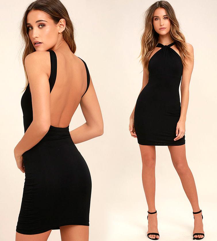 Короткое платье с открытой спиной черного цвета фото 14