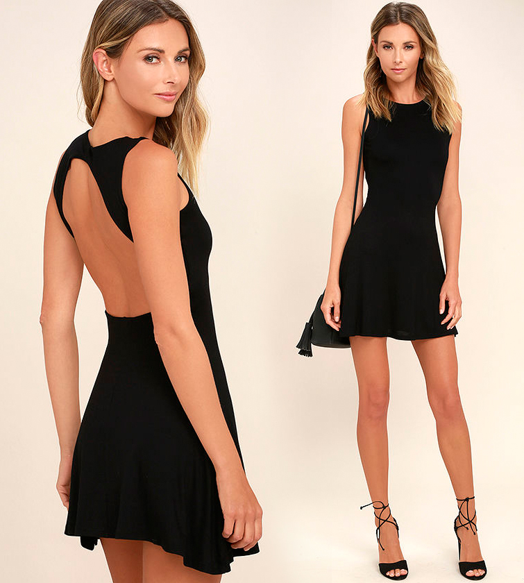 Короткое платье с открытой спиной черного цвета фото 12