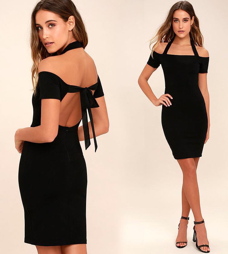 Короткое платье с открытой спиной черного цвета фото 11