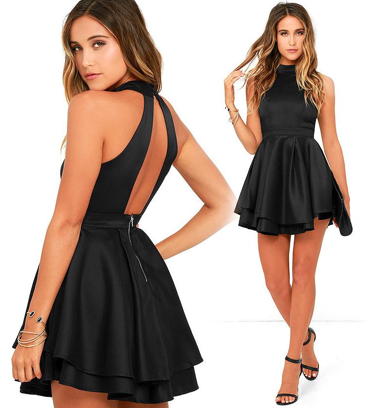 Короткое платье с открытой спиной черного цвета фото 8