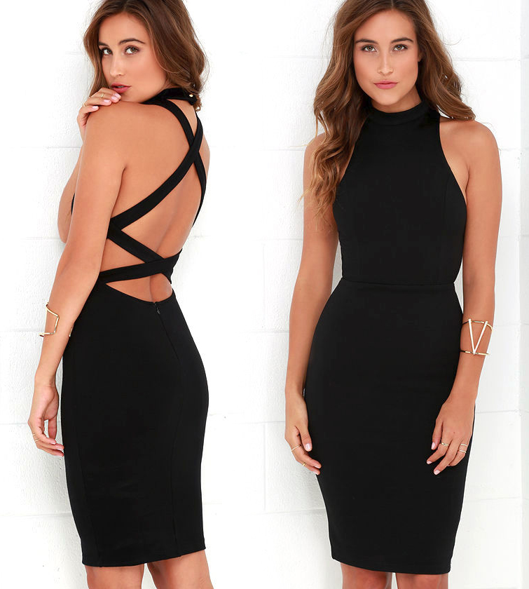 Короткое платье с открытой спиной черного цвета фото 2