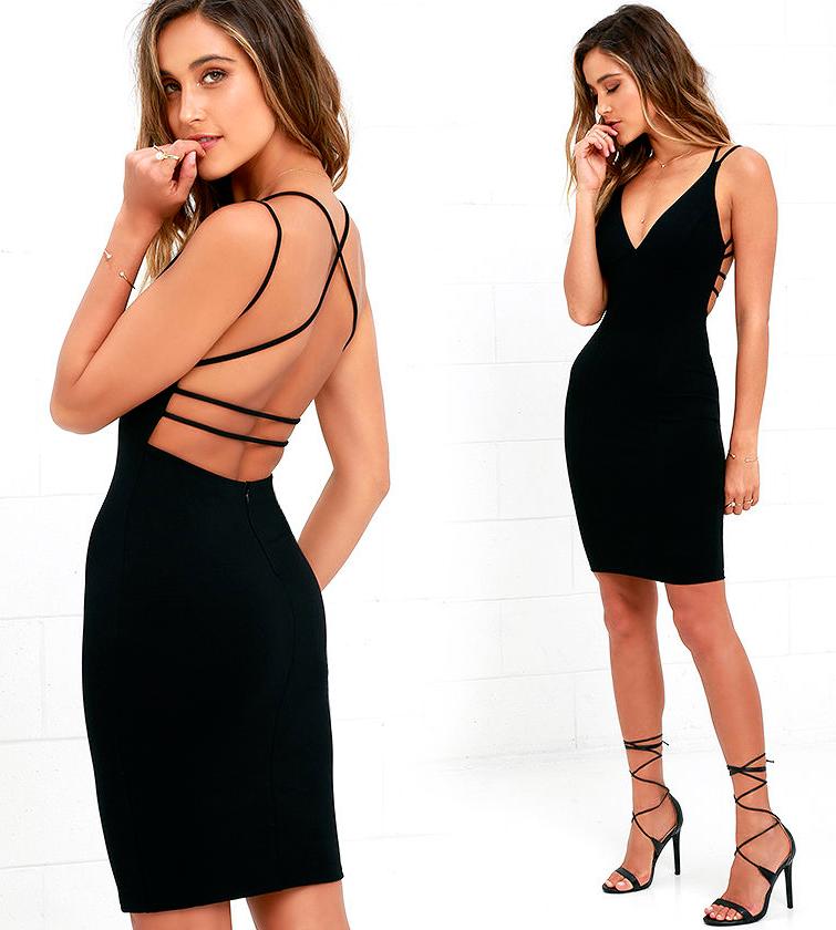 Платье Черное С Открытой Спиной Купить