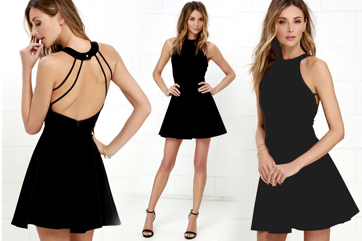 Короткое платье с открытой спиной черного цвета фото 1