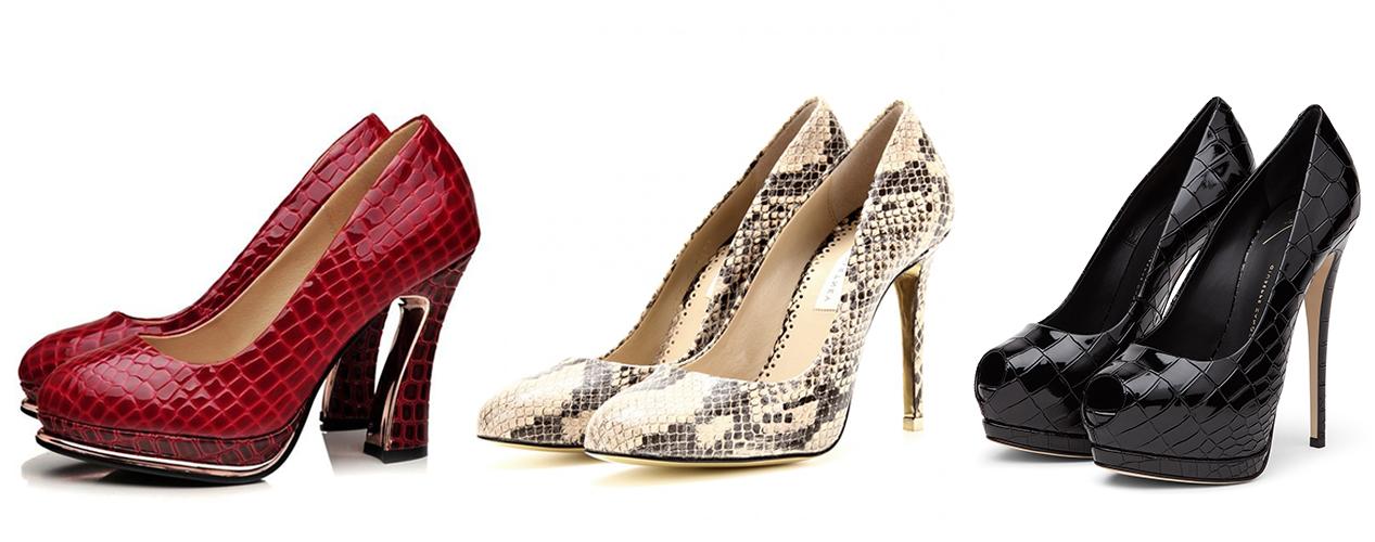 красные туфли, бежевые туфли, черные туфли