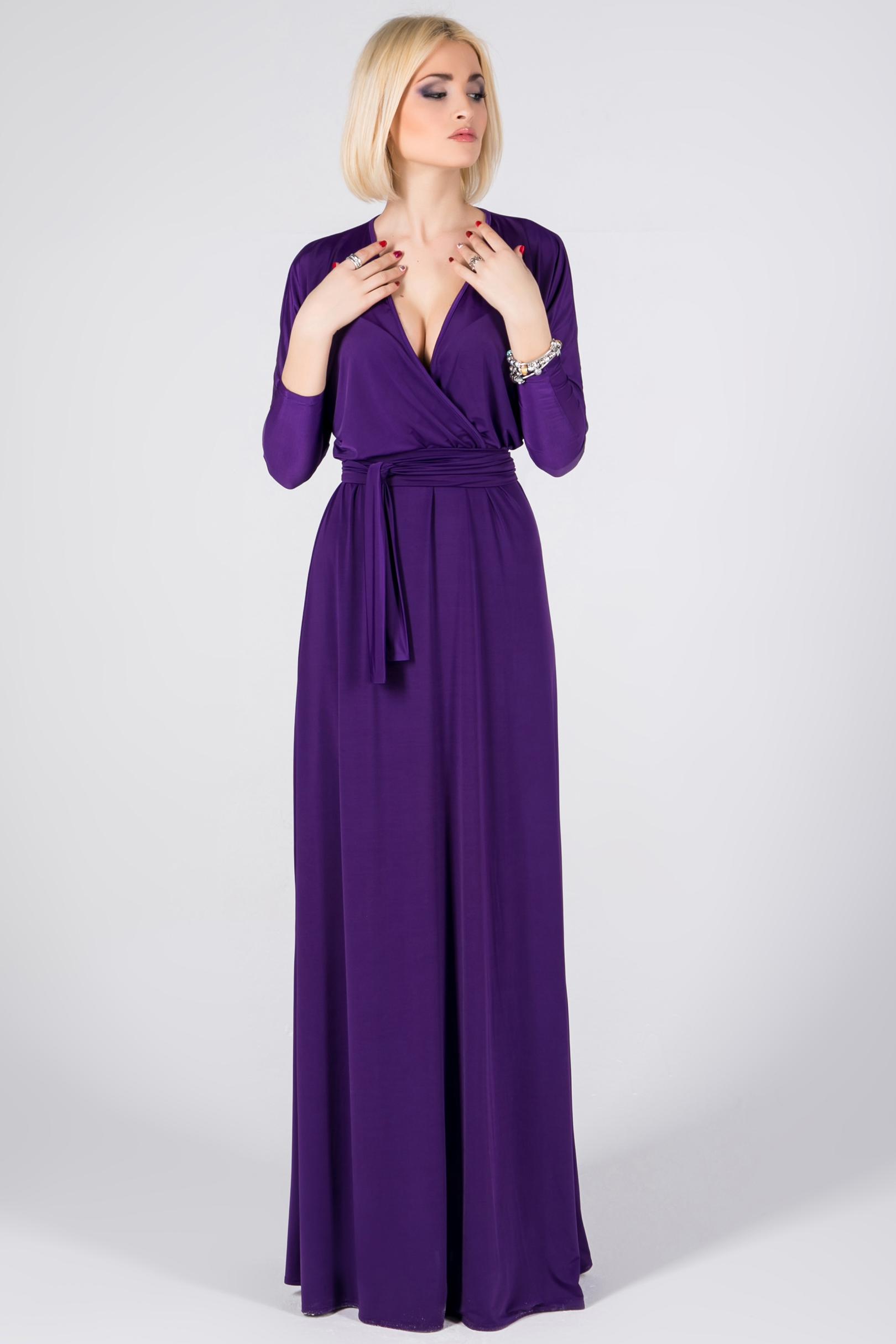 Фиолетовое платье в пол фото 2