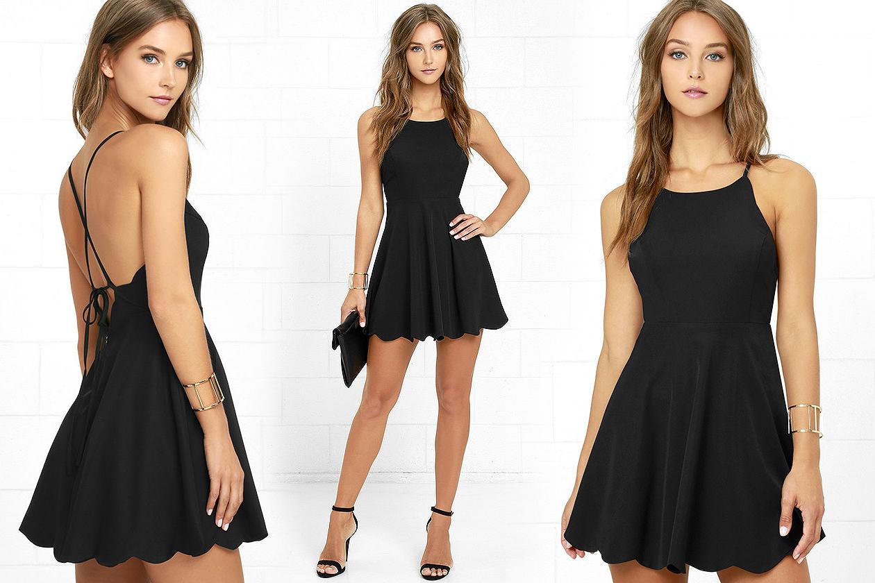 Короткое платье с открытой спиной черного цвета фото 9