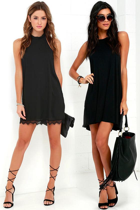 Короткое прямое чёрное платье фото 9