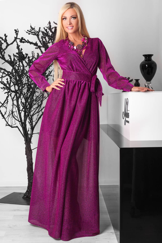 Фиолетовое платье в пол фото 3