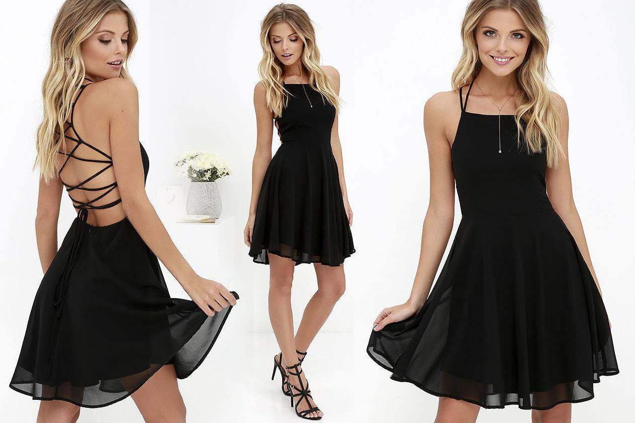 Короткое платье с открытой спиной черного цвета фото 5