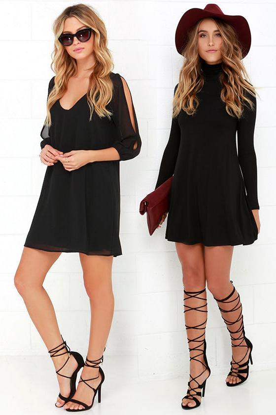 Короткое прямое чёрное платье фото 6