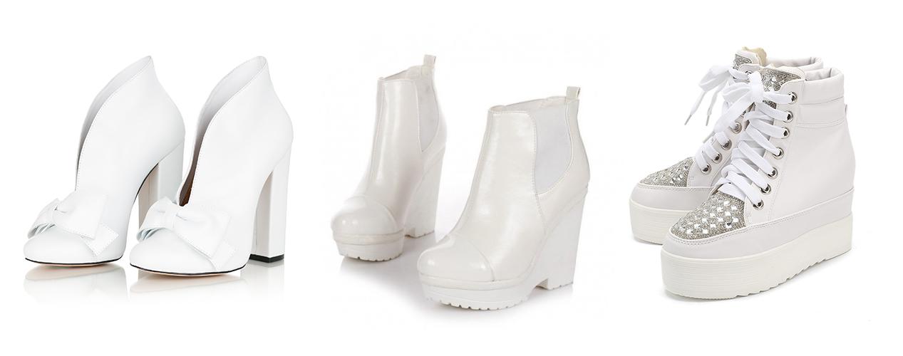 белые ботильоны с бантом, белые лакированные ботильоны, белые кроссовки на толстой подошве