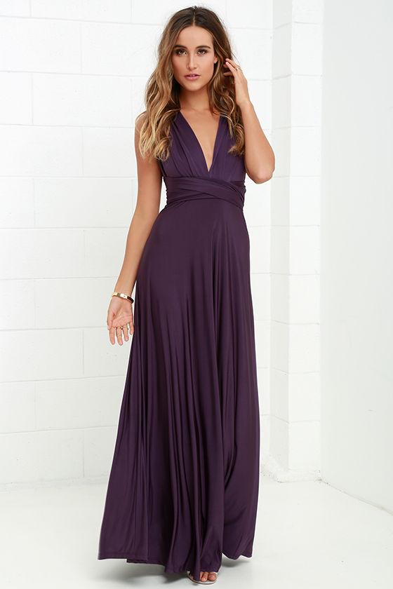 Фиолетовое платье в пол фото 4