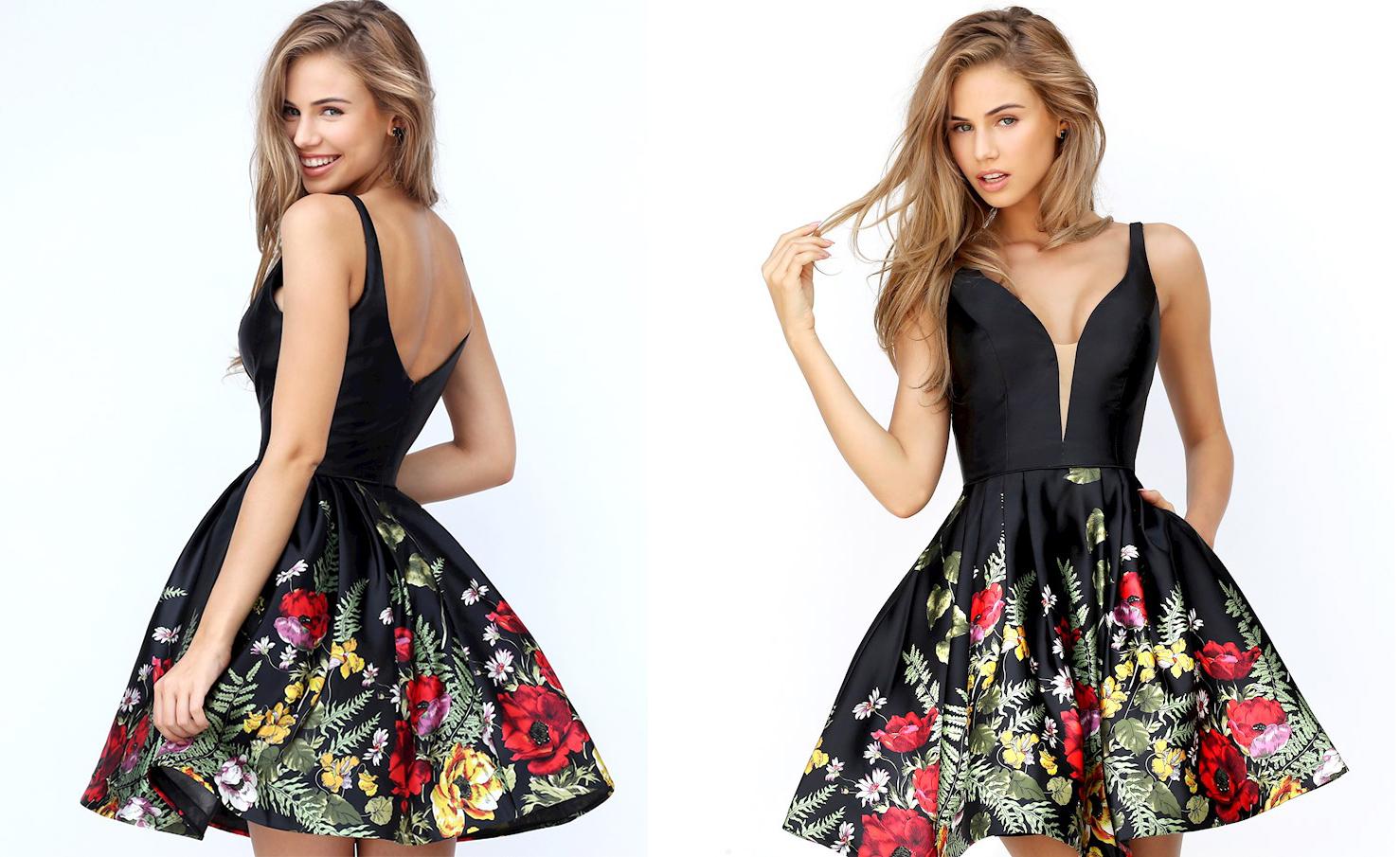 Пышное короткое платье черного цвета фото 6