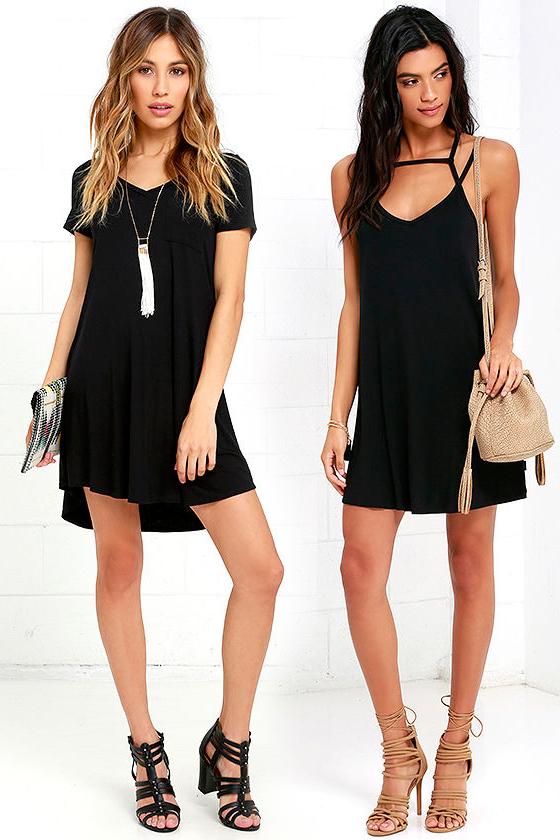 Короткое прямое чёрное платье фото 5