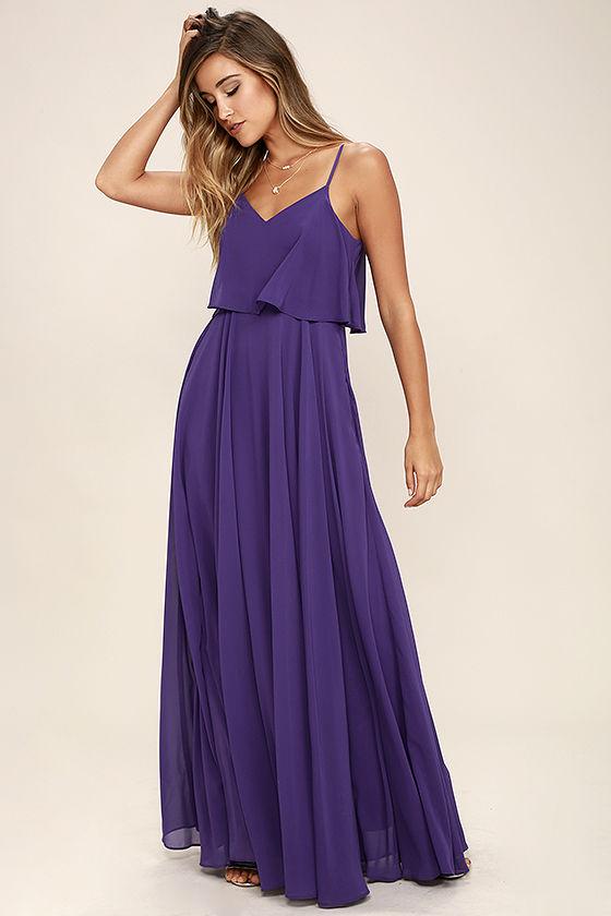 Фиолетовое платье в пол фото 5