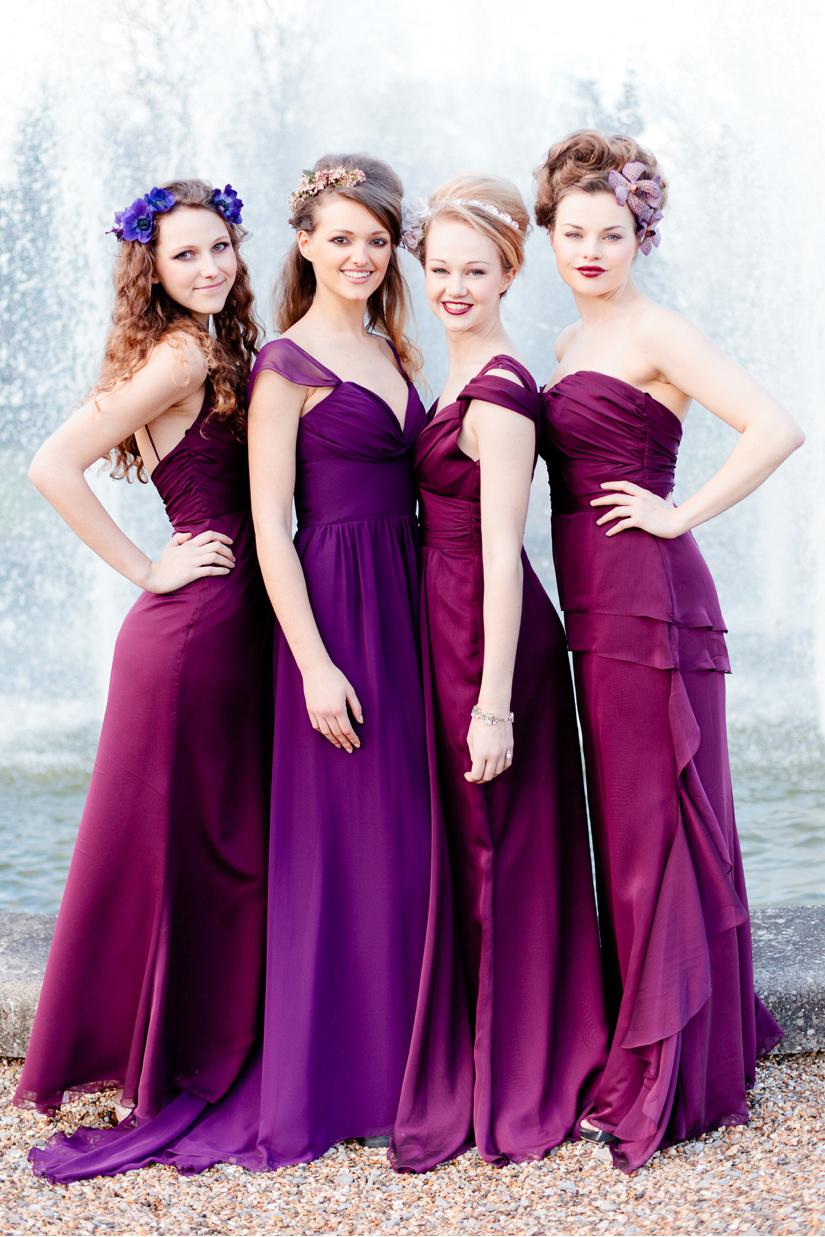 Фиолетовые платья подружек невесты фото 1