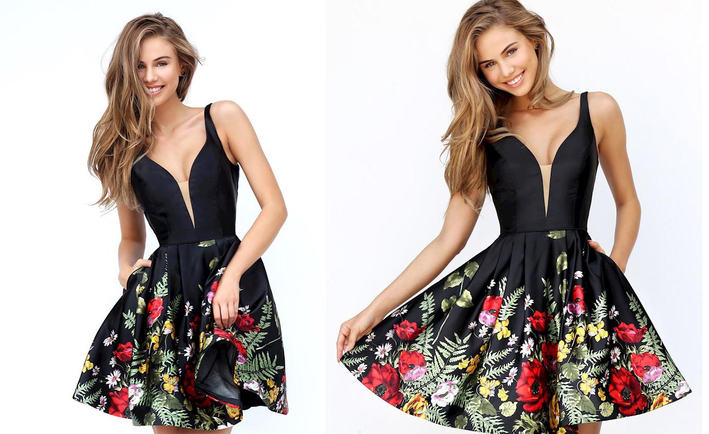 Пышное короткое платье черного цвета фото 5