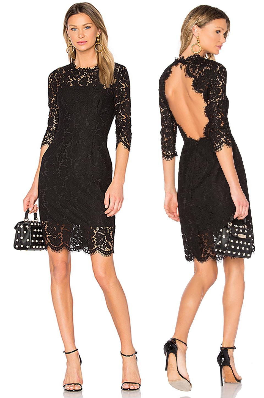Короткое кружевное платье черного цвета фото 5