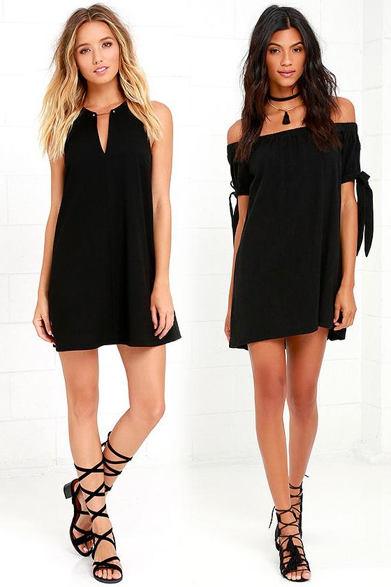Короткое прямое чёрное платье фото 4