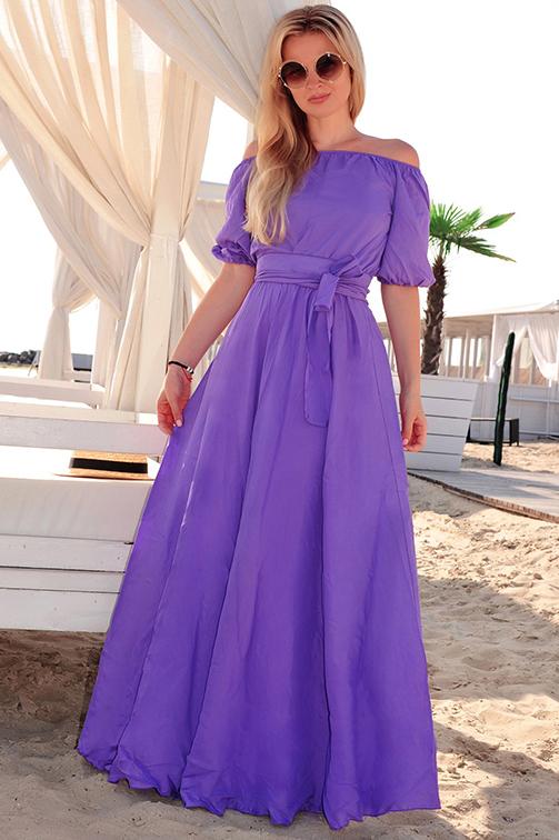Фиолетовое платье в пол фото 6