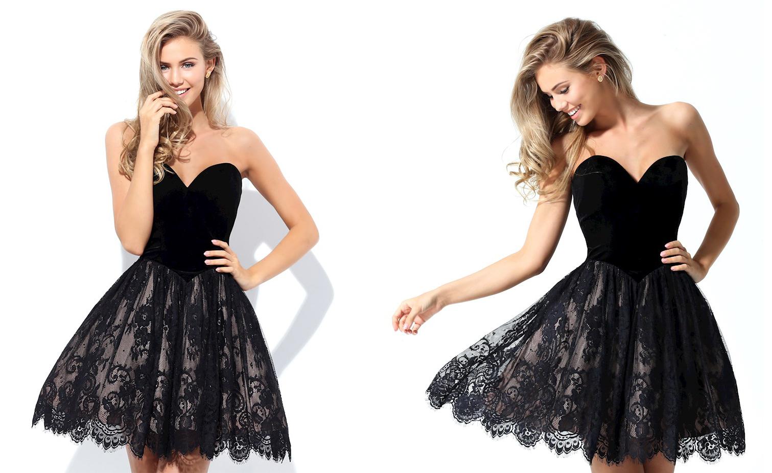 Короткое кружевное платье черного цвета фото 8