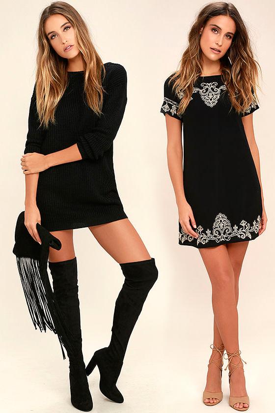 Короткое прямое чёрное платье фото 1