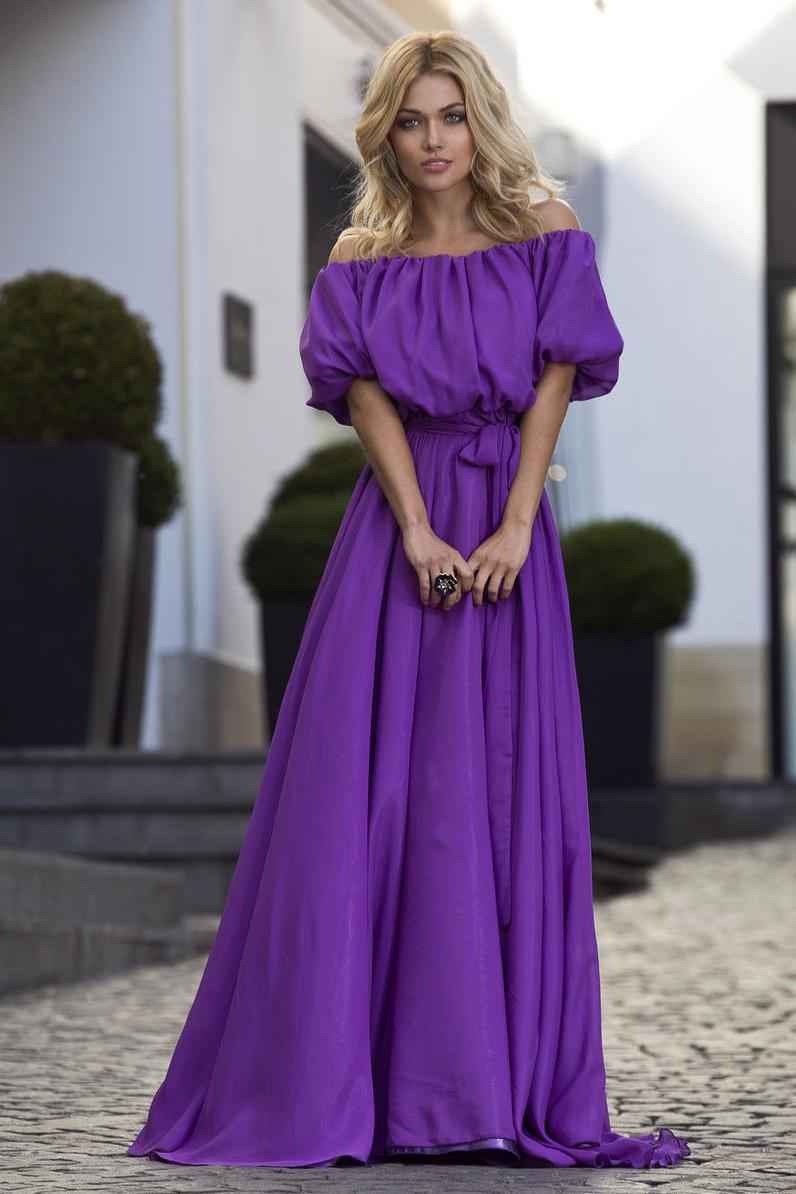 Фиолетовое платье в пол фото 7