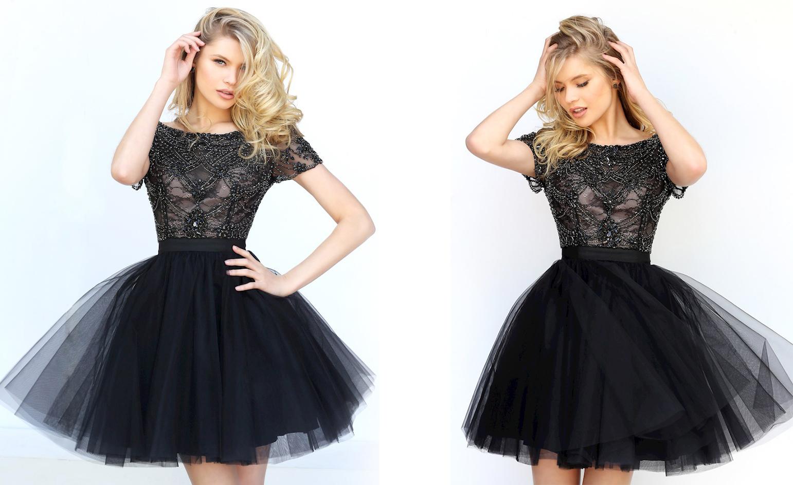 Пышное короткое платье черного цвета фото 3