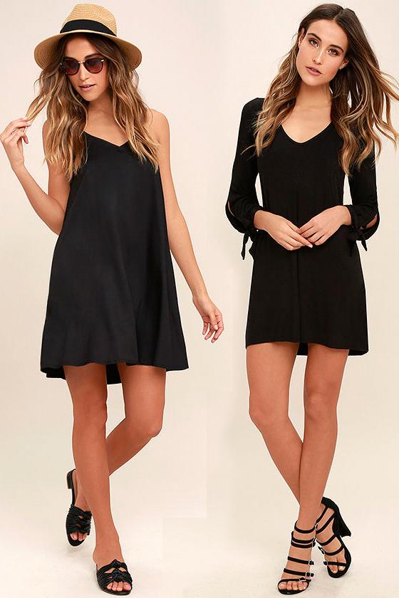Короткое прямое чёрное платье фото 2