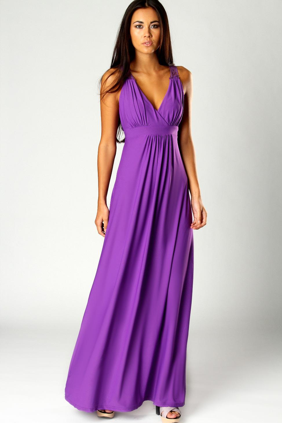 Фиолетовое платье в пол фото 8