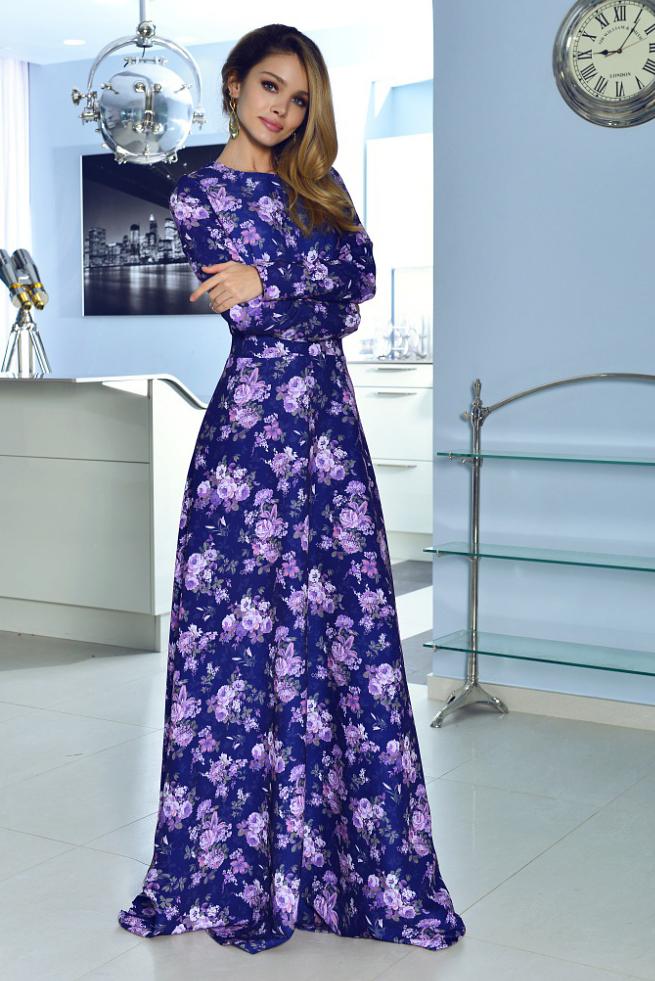 Фиолетовое платье в пол фото 9