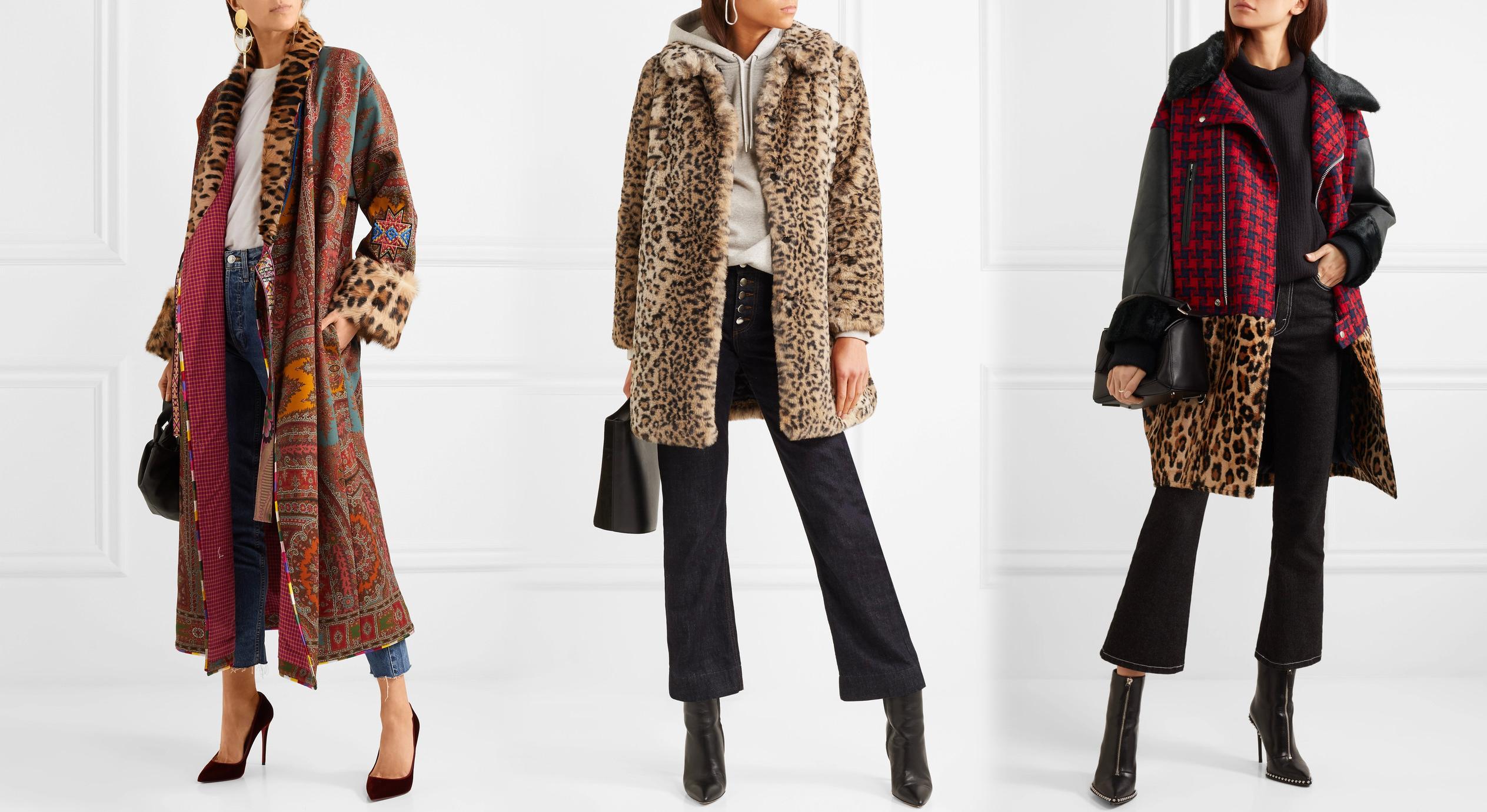 Пальто леопардовый принт