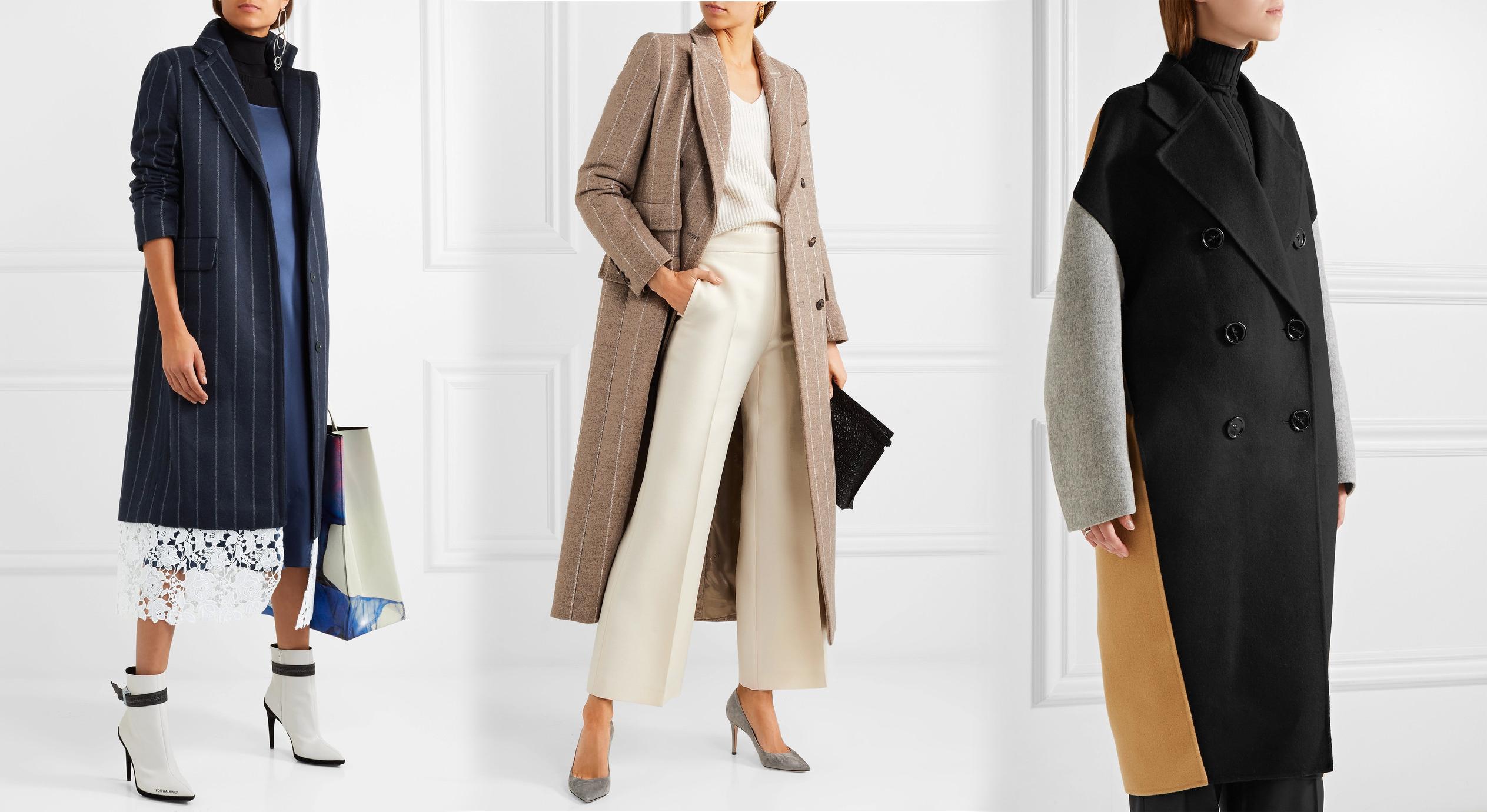 Пальто в вертикальную полоску