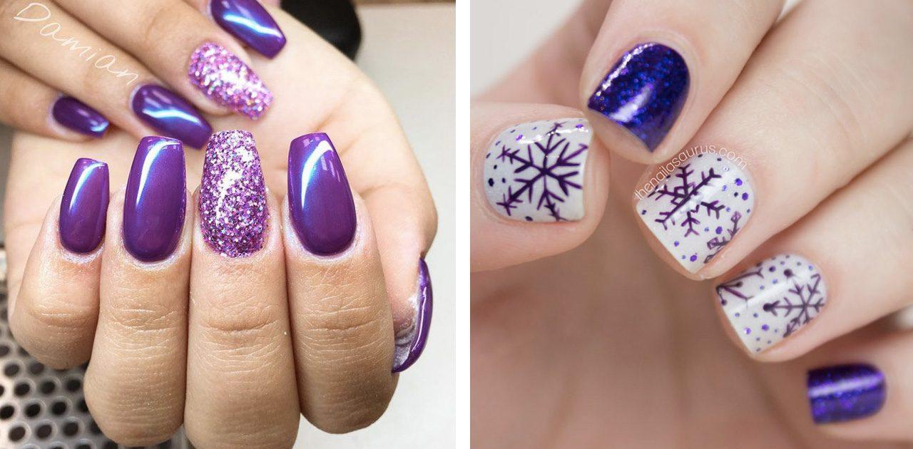 Новогодний маникюр фиолетовый