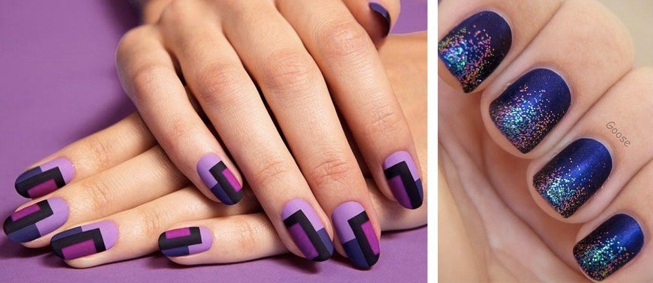 Новогодний фиолетовый матовый маникюр
